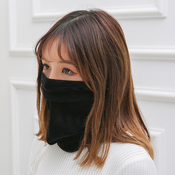 Women's Simple Style Solid Velvet Beanie Face Mask Scarf