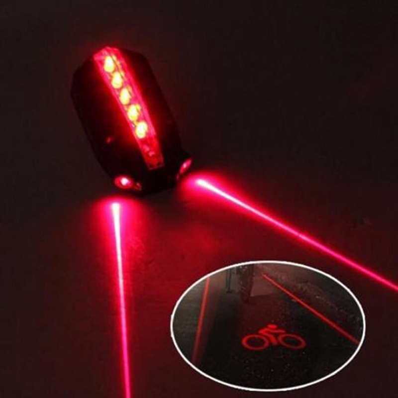BIKIGHT 2 Laser+5 LED Logo Projection MTB Cycling Bicycle Safety Warning Light Bike Tail Light