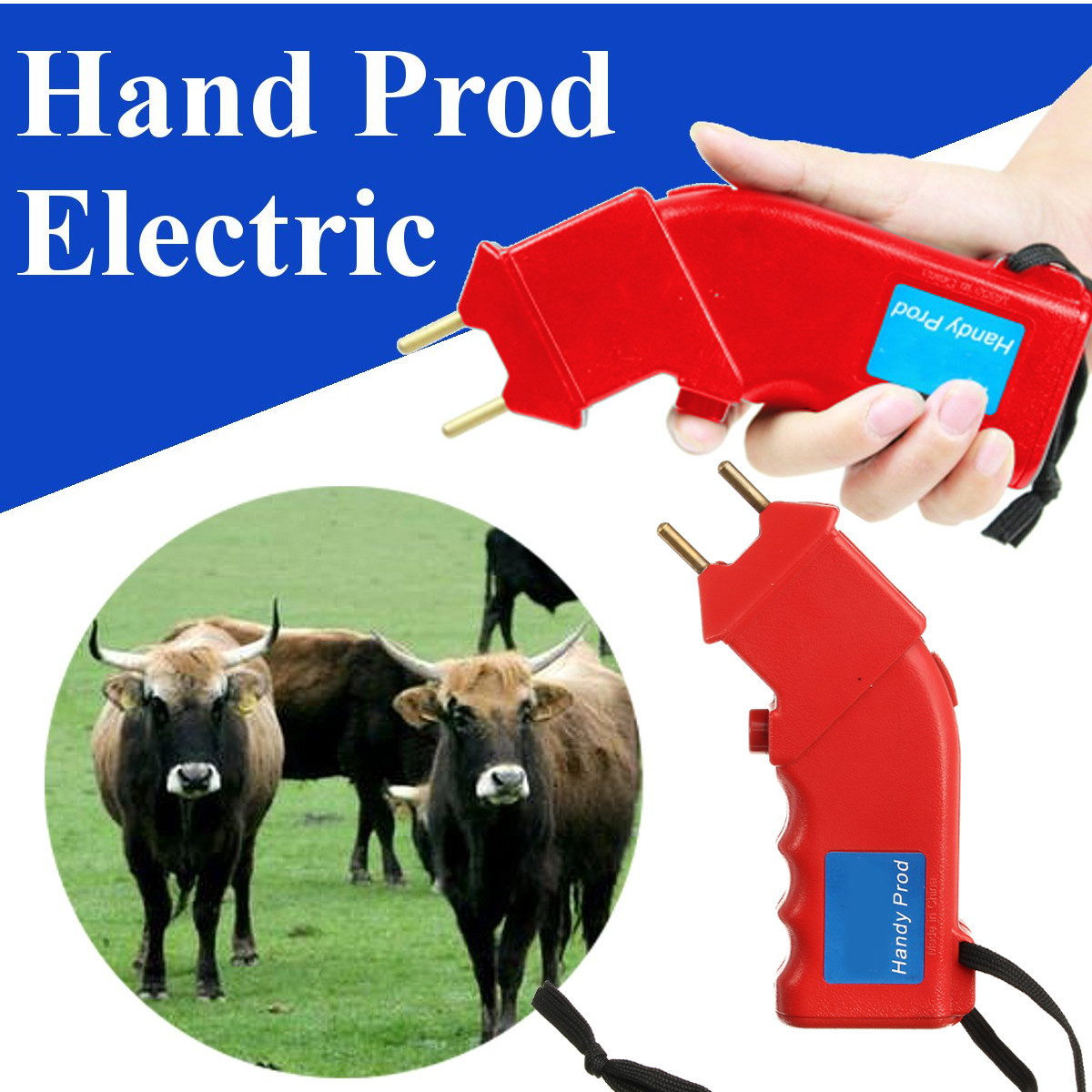 6V 2.4W Electric Hand Cattle Prod Shock Cattle Prod Goat Cattle Pig Livestock Equipment
