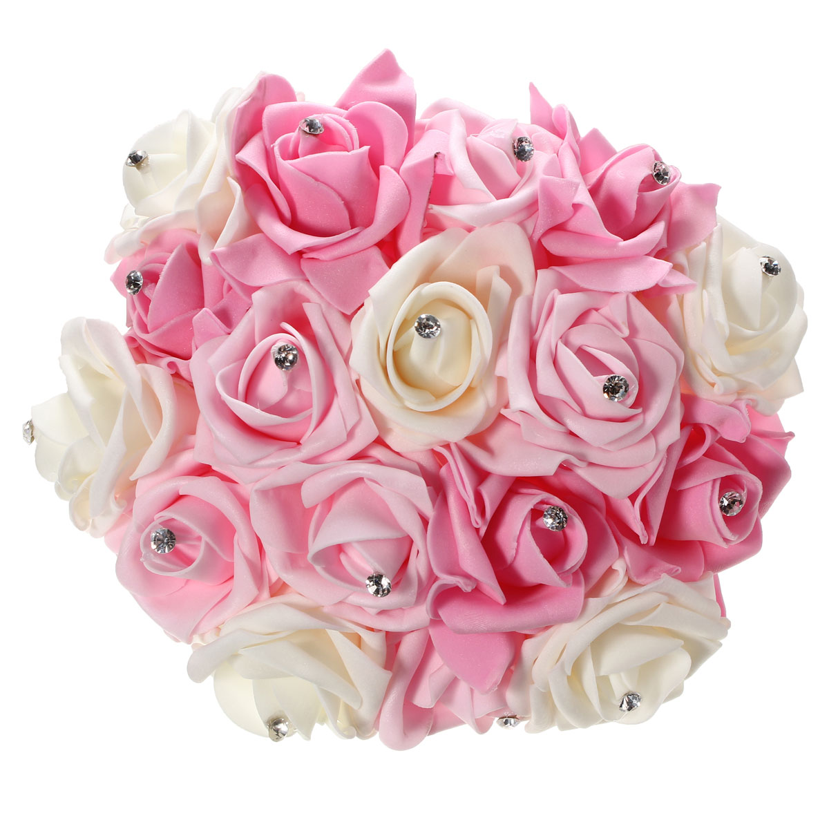 30cm / 11.8'' Crystal Foam Flower Roses Wedding Bridal Bridesmaid Bouquet Posy