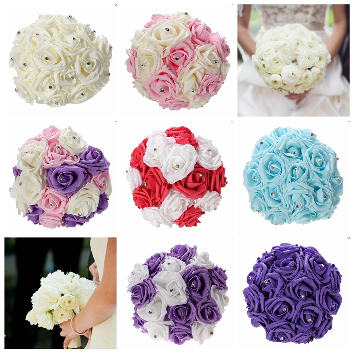 30cm / 11.8'' Crystal Foam Flower Roses Wedding Bridal Bridesmaid Bouquet Posy