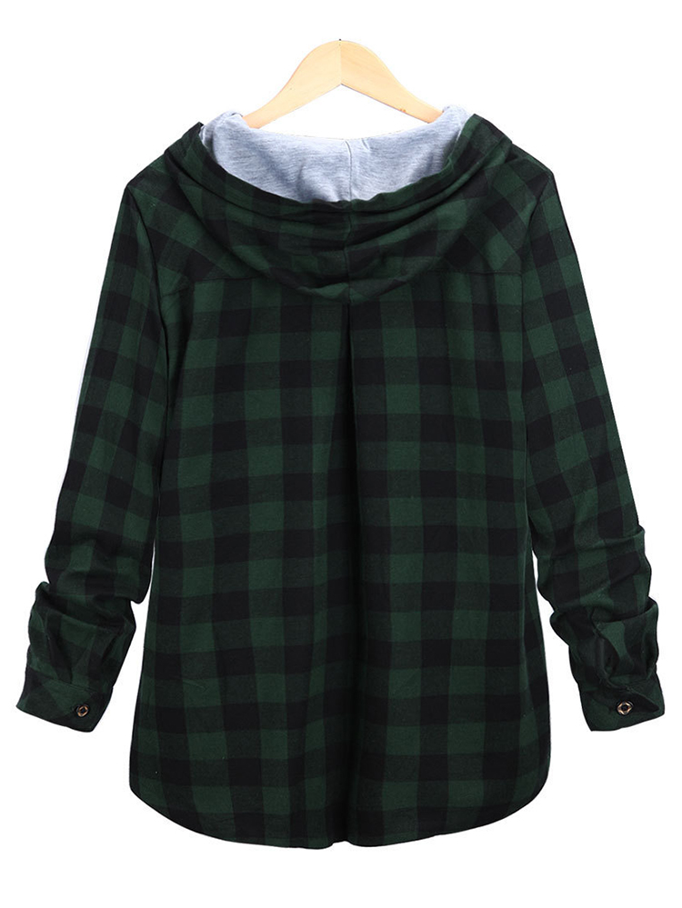 S-5XL Women Plaid Hooded Button Sweatshirt with Pocket
