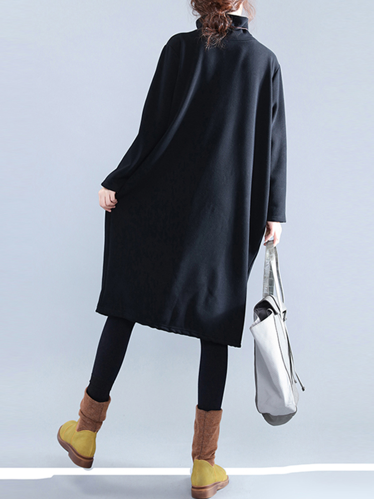 Casual Women Pure Color Turtleneck Pockets Long Sleeve Dresses