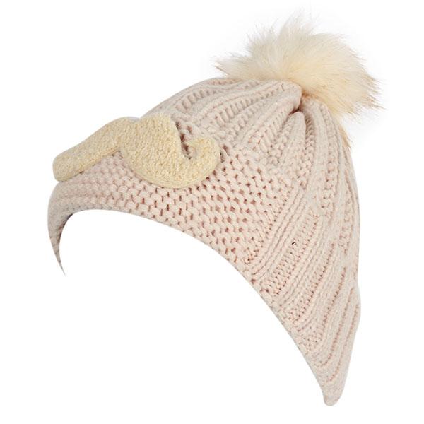 Women Girl Mustache Embroidery Knitted Slouch Beanie Hat Rabbit Fur Ball Crochet Cap