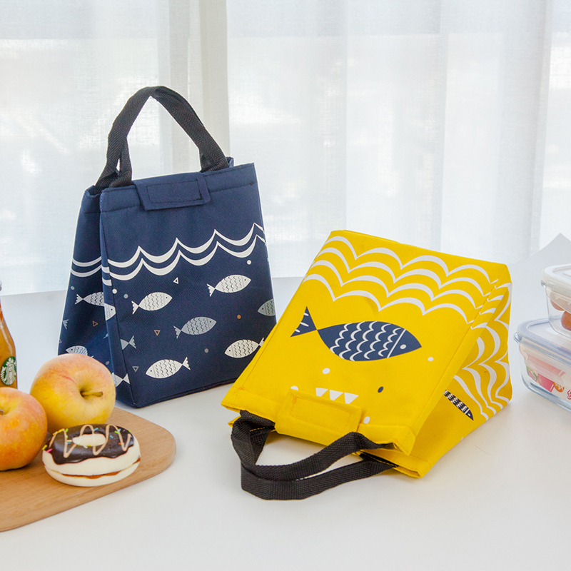 Fish Pattern Oxford Picnic Bag Aluminum Foil Insulation Package Waterproof Cooler Lunch Box Bag