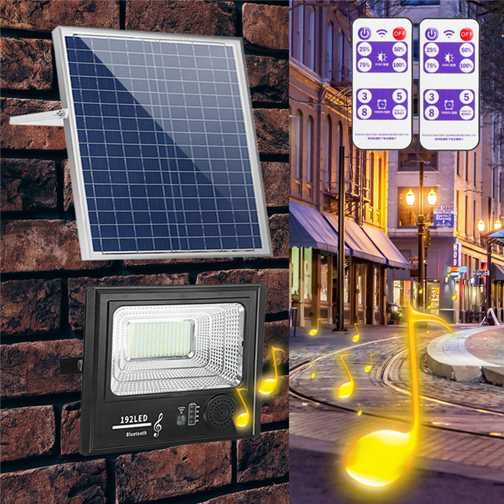 Bright Solar Powered 192 LED Flood Security Light Dimmable with Remote Controller for Garden Wall Outdoor