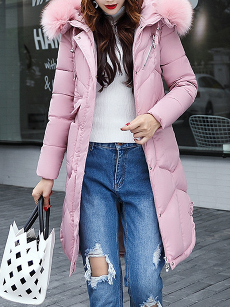 Women Thicken Pure Color Hooded Down Coat