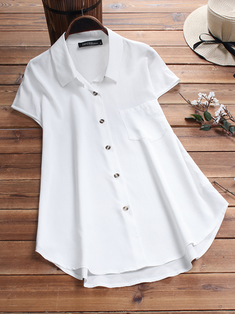 Women Pure Color High Low Hem Button Down Pocket Blouse
