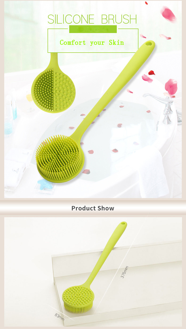 Silicone Shower Body Brush with a Long Handle Eco-Friendly Easy to Store Durable Strong Shower Body Brush