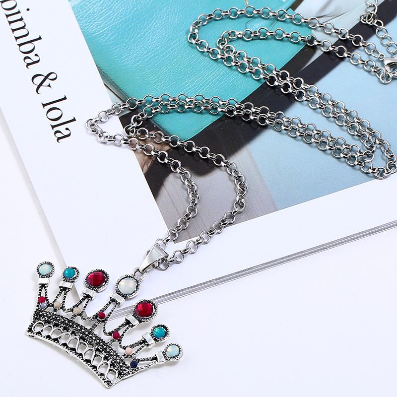 Cheap Ethnic Antique Silver Colorful Crown Pendant Necklaces