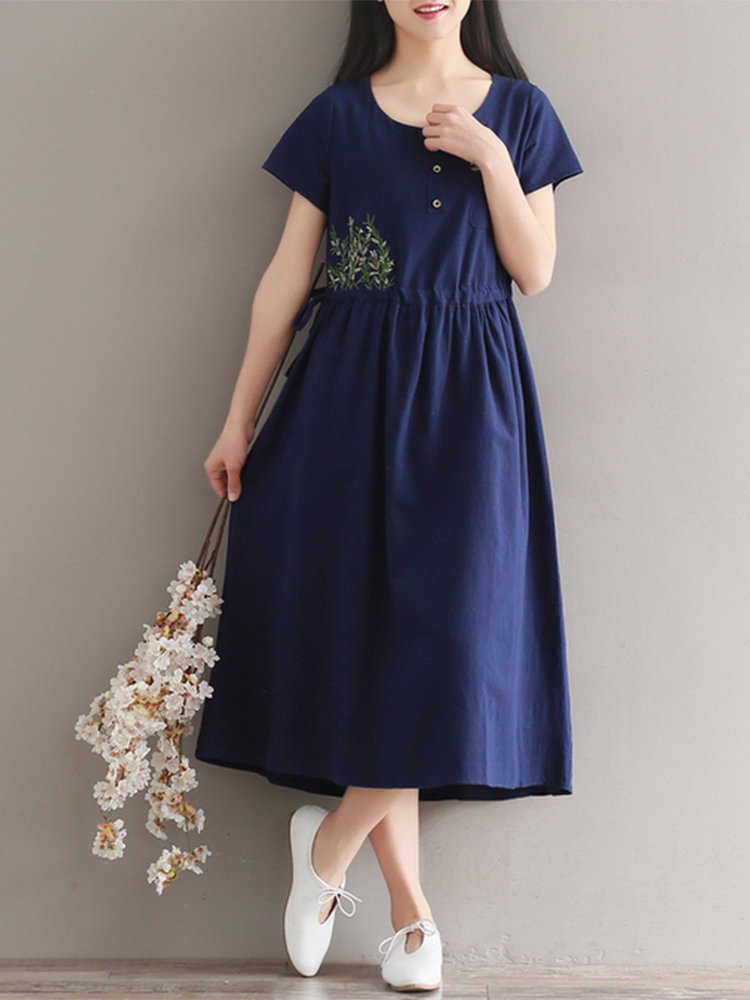 Women Short Sleeve Embroidery O-neck Button Dresses