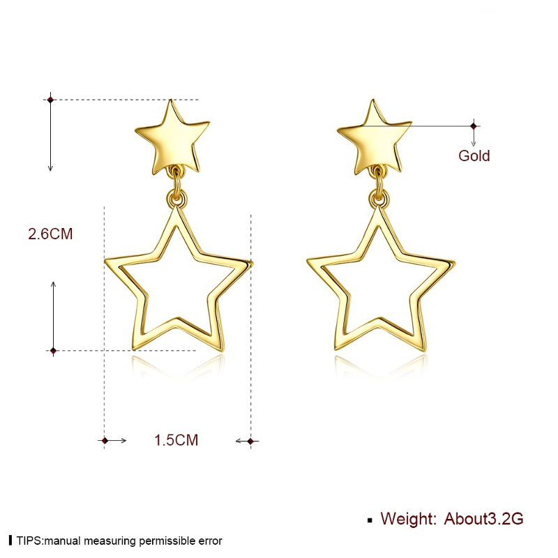 INALIS Sweet Star Gold Plated Earring Copper Ear Drop