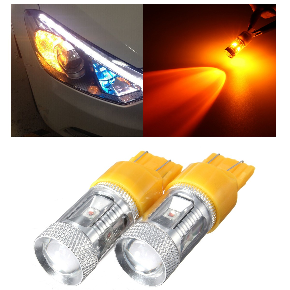 30W 7443 7440 Amber High Power LED Turn Signal Indicator Amber Light Bulbs