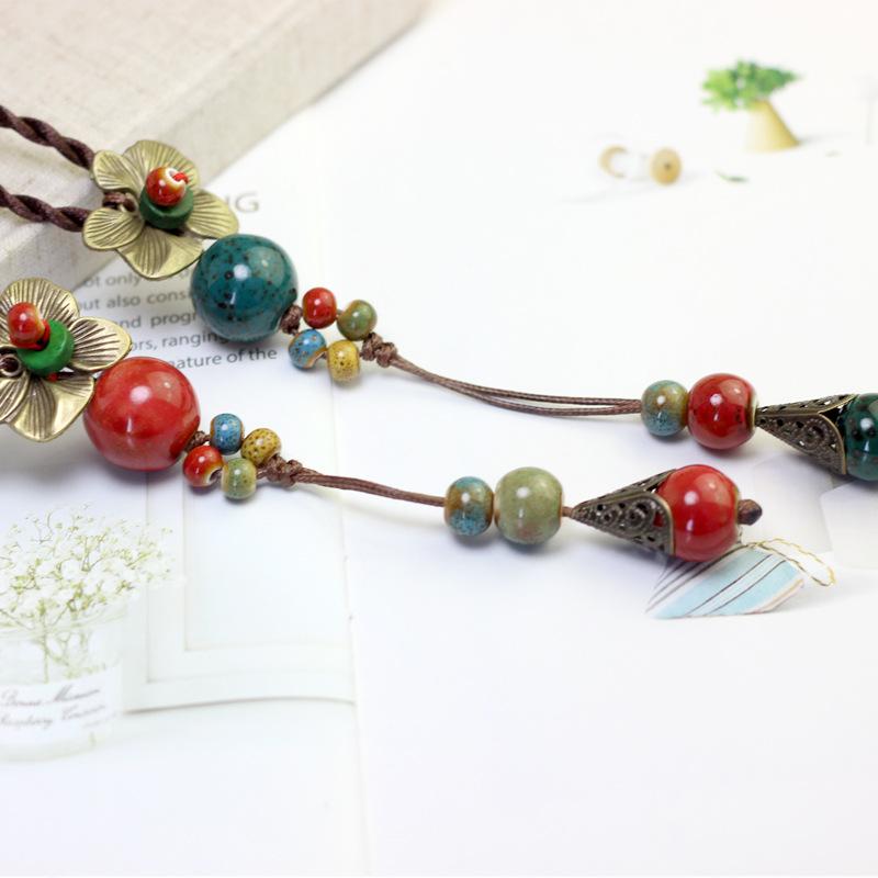 Ethnic Handmade Pendant Necklace Round Beads Flower Necklace