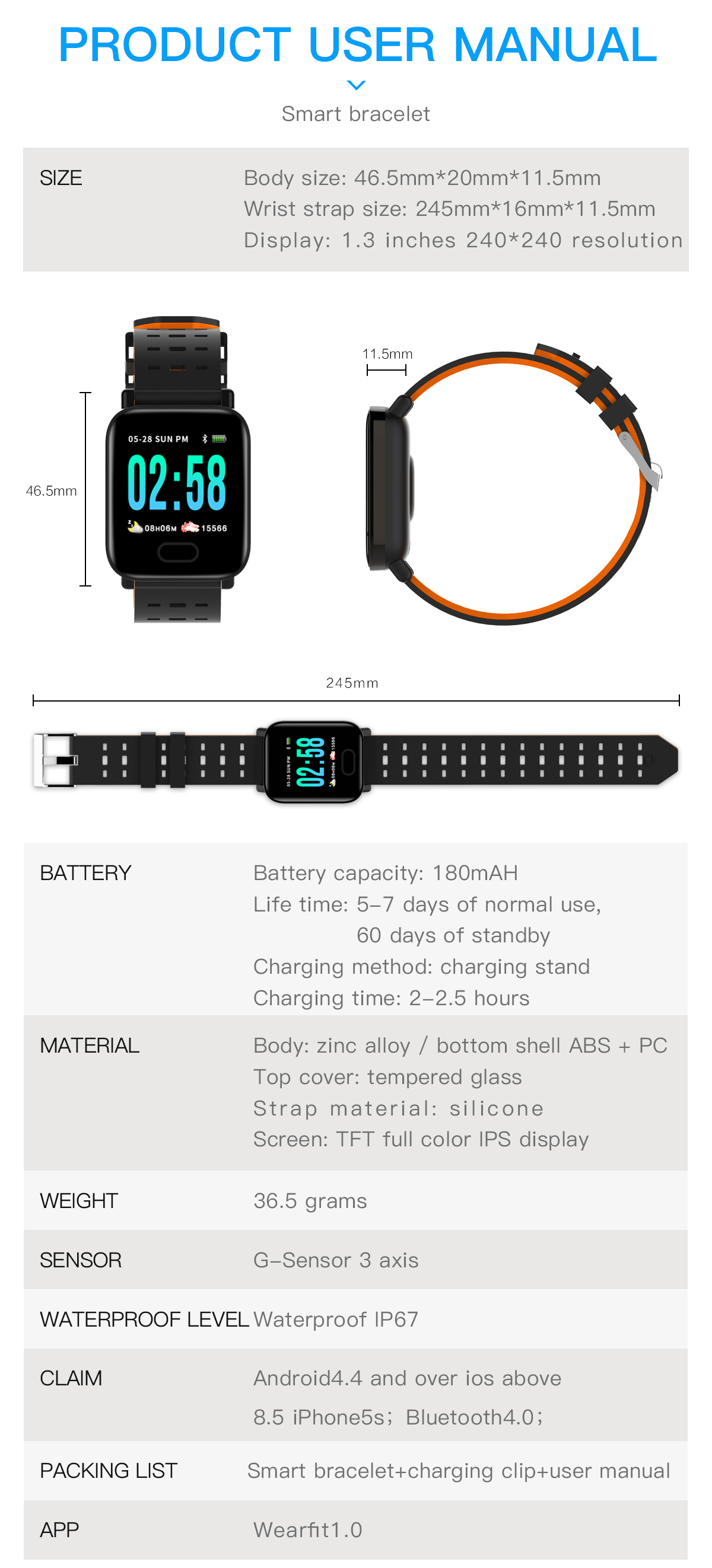 Bakeey M20 1.3' Big Screen Real Time HR Blood Oxygen Pressure Monitor Long Standby Sport Smart Watch 28
