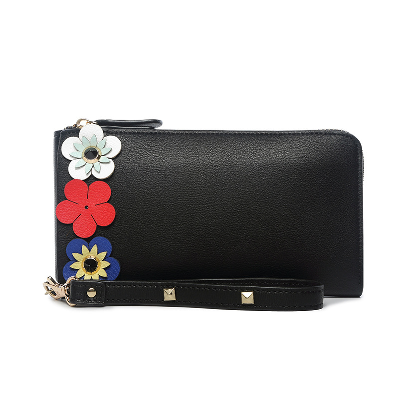 Stylish Flower Decorational Long Wallet Clutch Card Holder