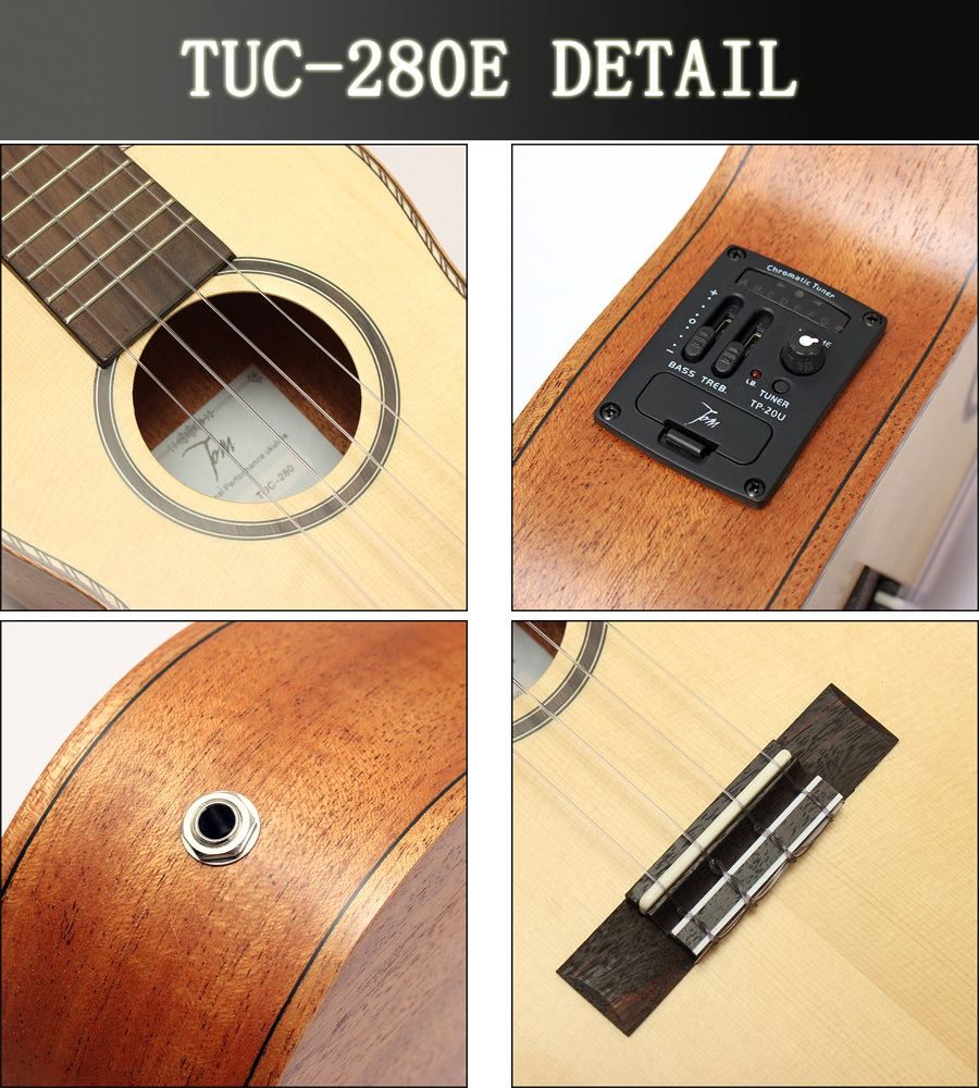 Tom TUC-280E 23 Inch Ukulele Solid Spruce Top Mahogany Back With Pick Up