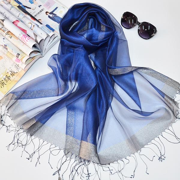 Women Soft Silk Satin Scarves Solid Color Long Sunscreen Beach Towel Shawl