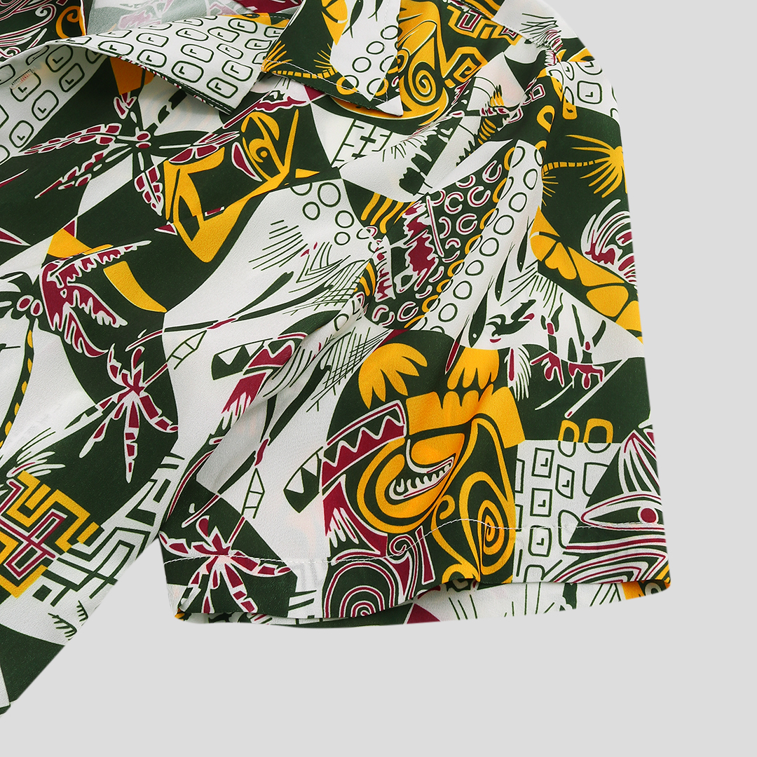 Mens Summer Funny Colorful Pattern Printed Ethnic Shirts