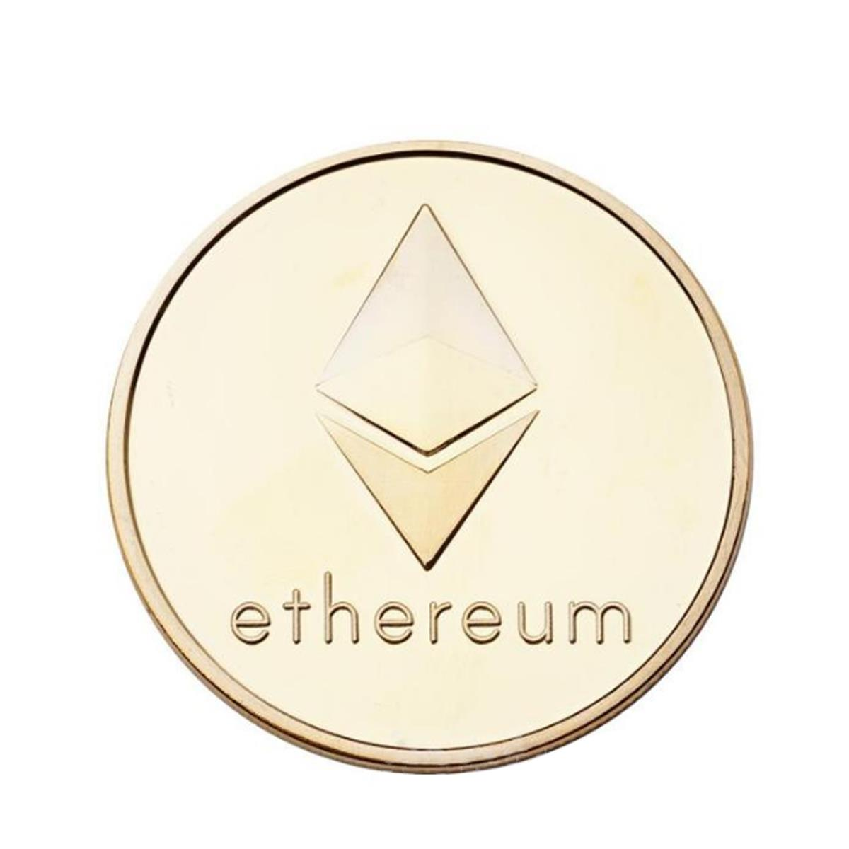 Gold Plated Ethereum Coin Coins Collectibles Mteal Art Antique Coins EDC Gadget