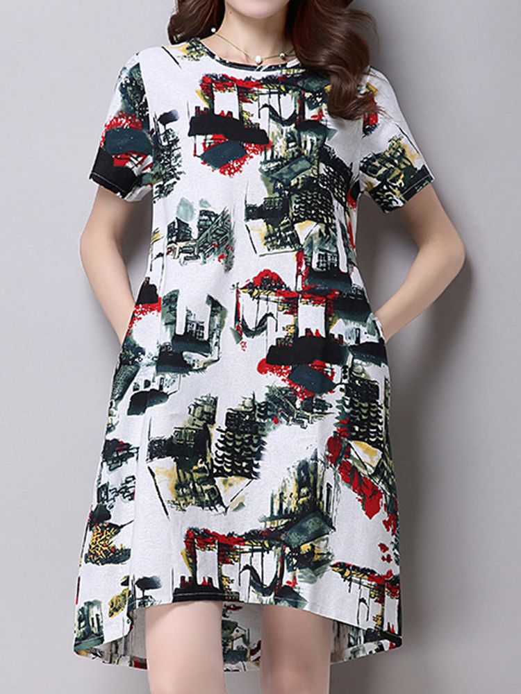 Casual Women Printed Short Sleeve O-Neck Knee-Length Dresses