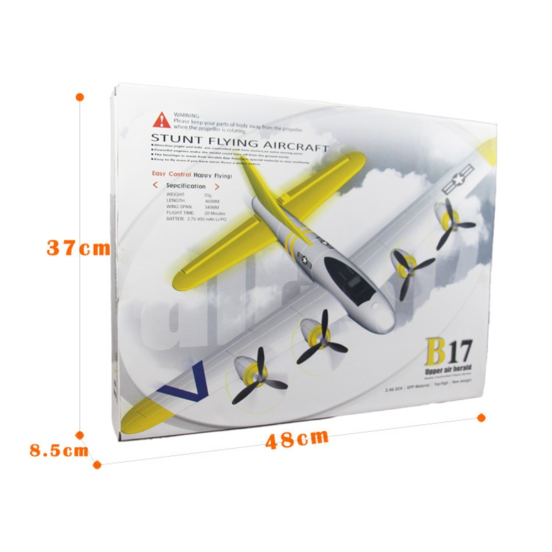 FX B17 465mm Wingspan 2.4Ghz 2CH Radio Control Airplane RTF with Mode 2 Transmitter Battery RC Plane Aircraft Drone G.lider Trainer Outdoor Toy
