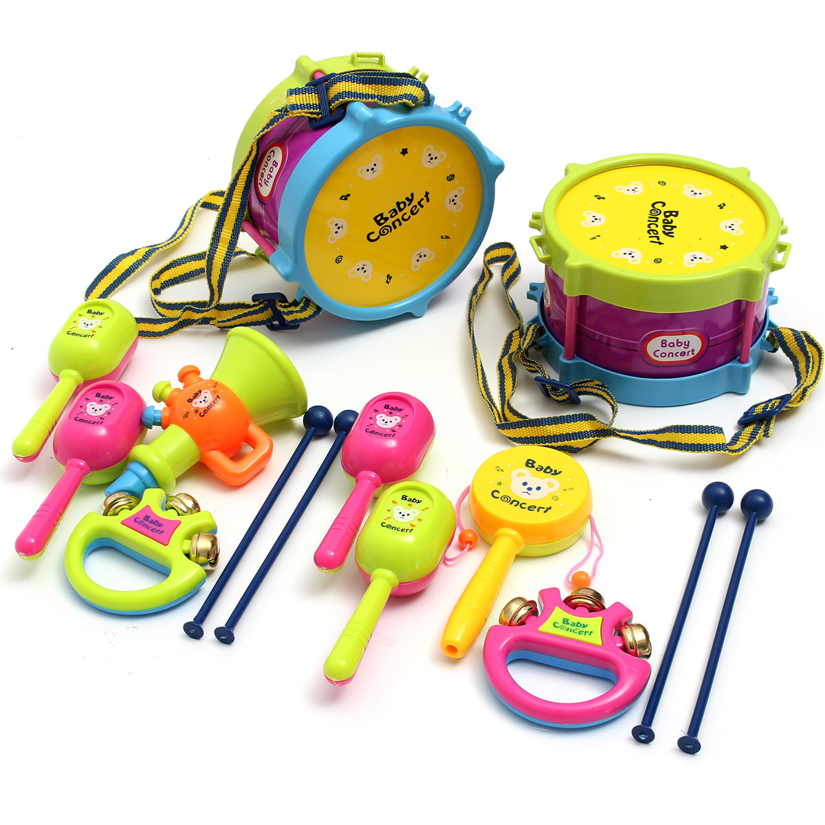 5Pcs Unisex Boys Girls Drum Musical Instruments Roll Kits Kids Rock Handbell Hammer Band Musical Toy Gift Set