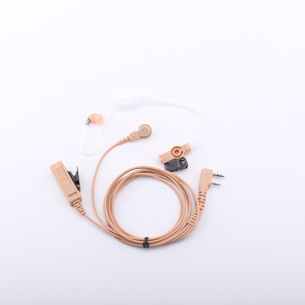 Walkie-talkie Earphone High-grade Double Line Khaki Long PTT Button Air Duct headset K Connector