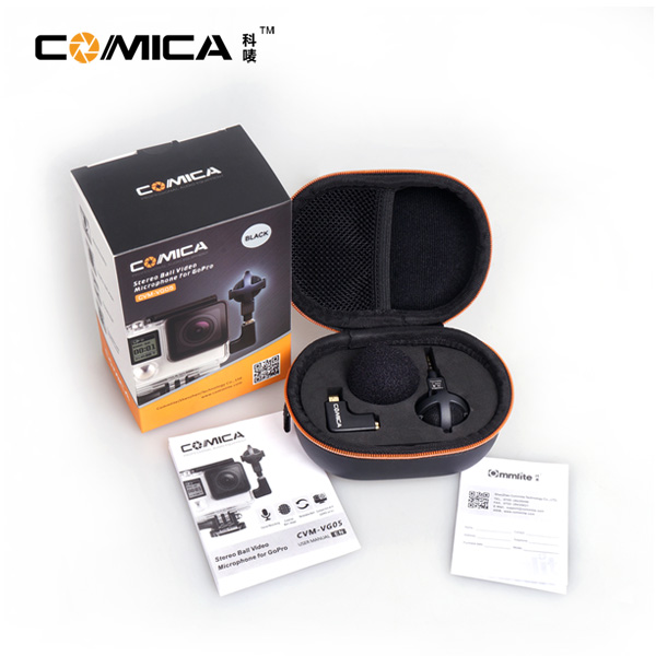 Comica VG05 Ball-shaped Stereo Video Interview Microphone for GoPro Cameras Hero 3 3 Plus 4 5