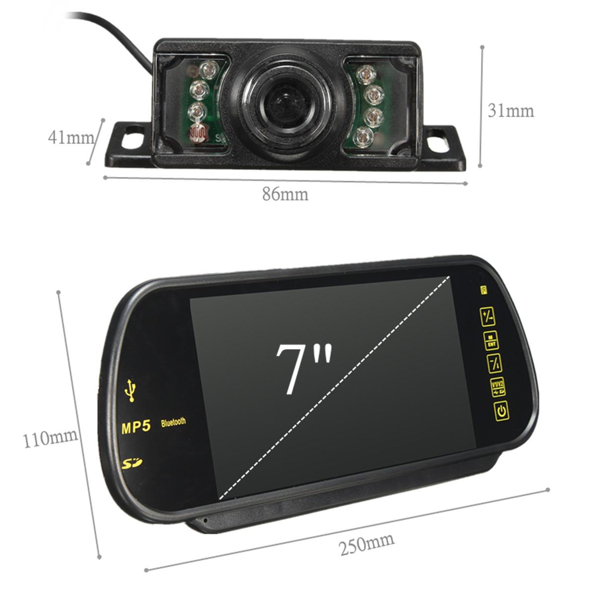 7 Inch LCD Mp5 bluetooth Reversing Camera Car Rear View Parking Mirror Monitor