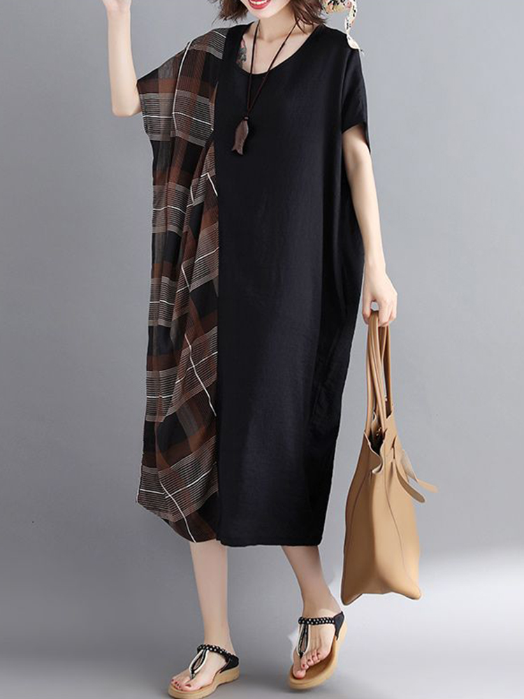 Women Casual Loose Plaid Patchwork Short Sleeves Dress