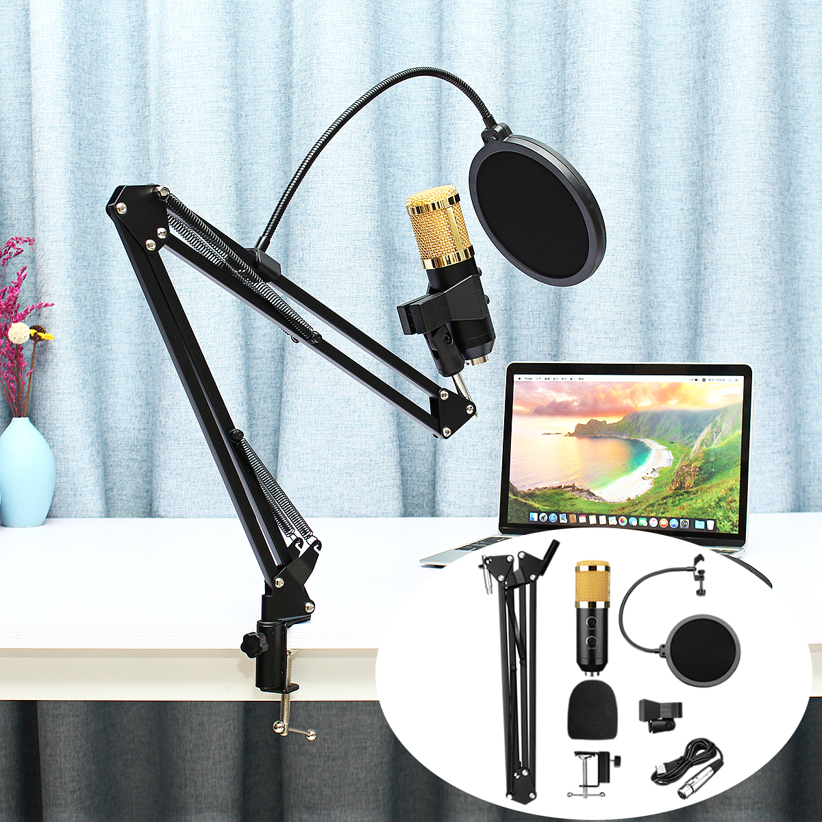 Adjustable Broadcast Podcasting Mic Volume Noise Reduction Capacitor KTV Audio Studio Recording Microphone