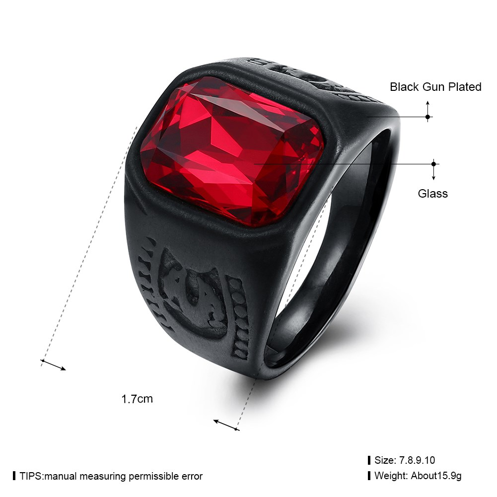 Wholesale Titanium Steel Unisex Fashion Ring Red Glass Ring for Men