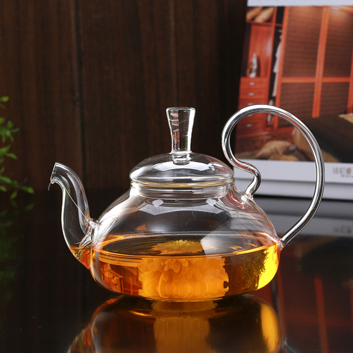 Heat Resistant Elegant Glass Teapot Infuser Flower/Green Tea Pot 750ml Size Coffee Pot Bar Accessory
