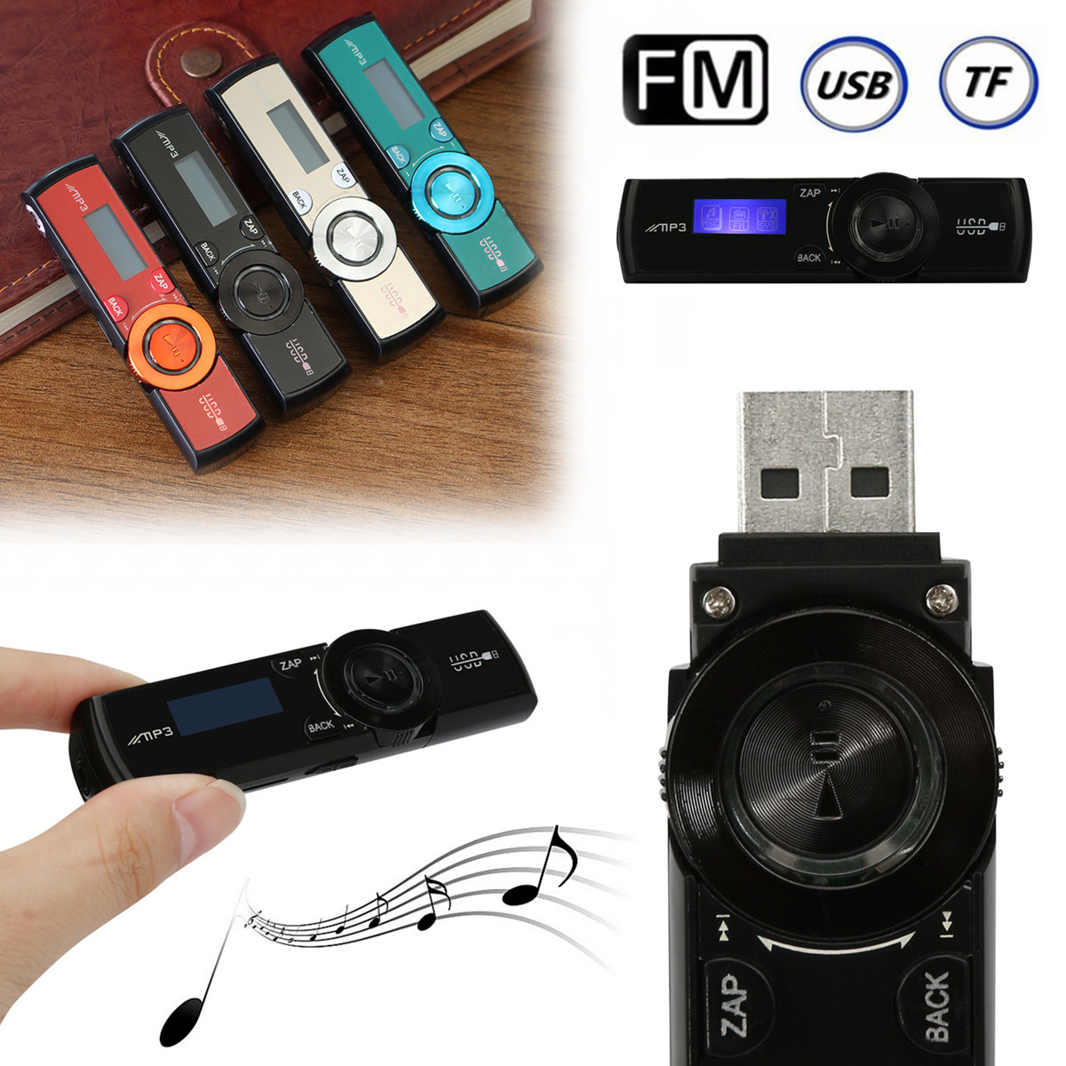 Multifunctional LCD USB MP3 Player Media FM Radio Micro SD TF Card with Headphones