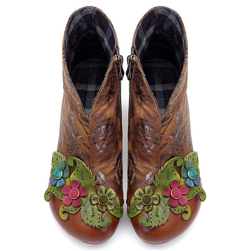 SOCOFY Handmade Floral Pattern Leather Zipper Ankle Boots