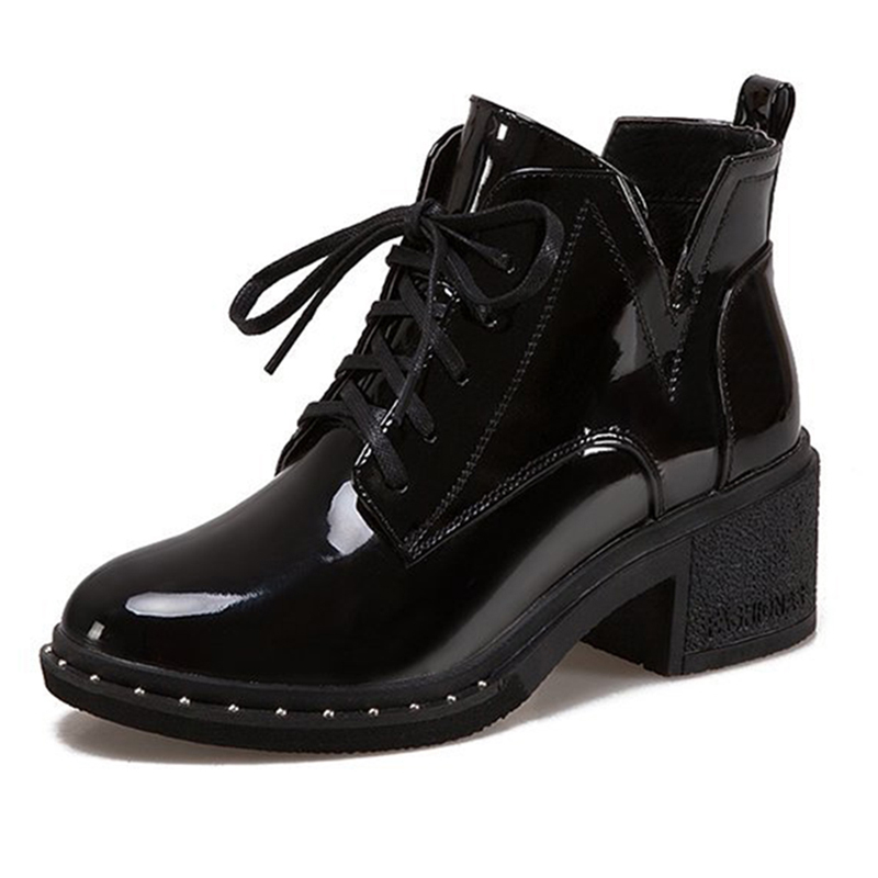 Lace Up Round Toe Women Martin Ankle Boots
