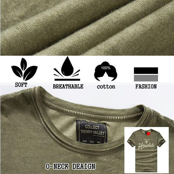 Men's Fashion Round Neck Cotton Short Sleeve T-shirt Sumer Casual Letter Printed T-Shirt
