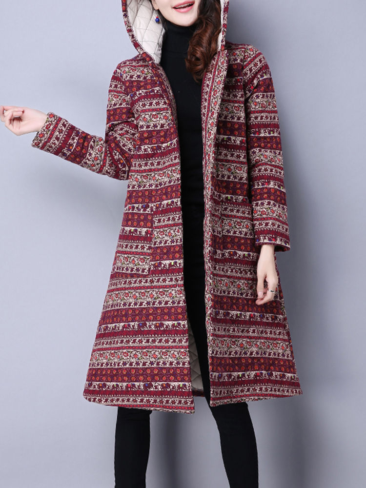 Plus Size Vintage Women Floral Printed Winter Coats