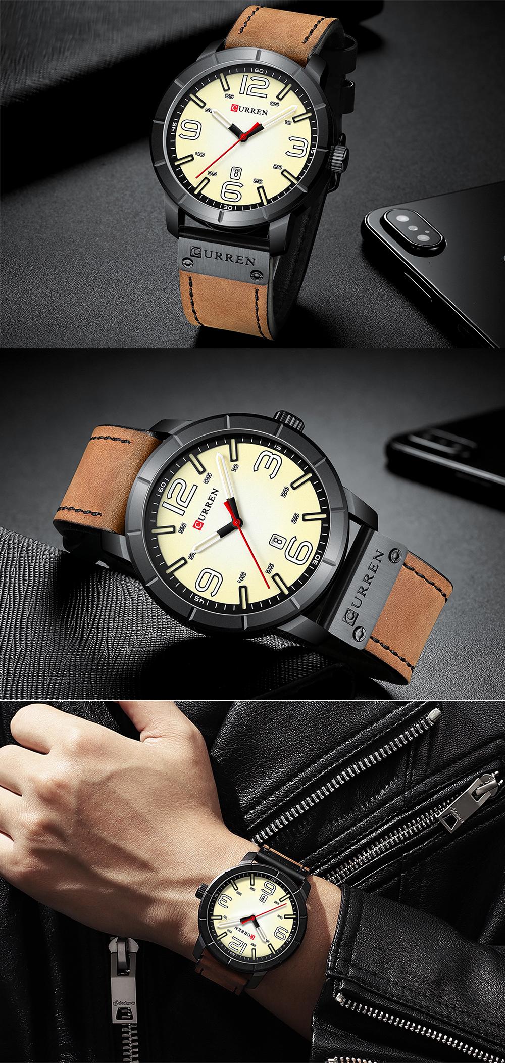 CURREN 8327 Casual Style Date Display Men Wristwatch
