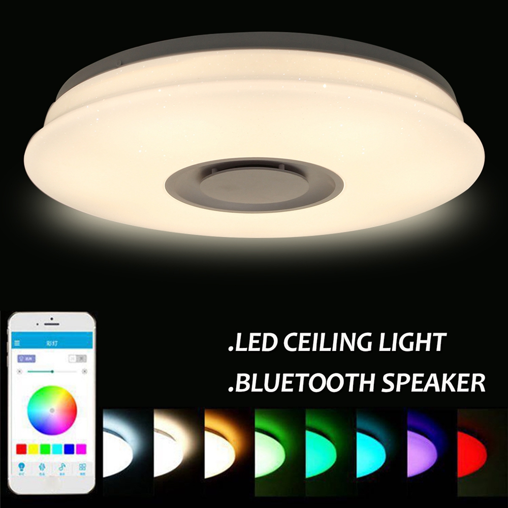 36W Round RGB Smart Dimmable LED Ceiling Light bluetooth Music APP Control Panel Lamp AC85-265V