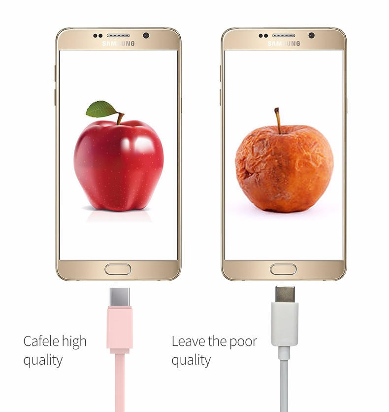 CAFELE 1M Retractable Type-C USB Fast Charging Data Cable for Mobile Phone