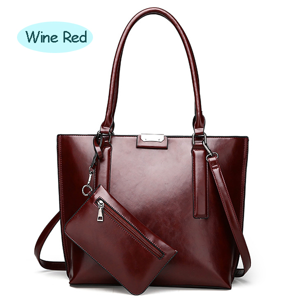 Female Vintage Pure Color Bags Big Handbags Crossbody Bags