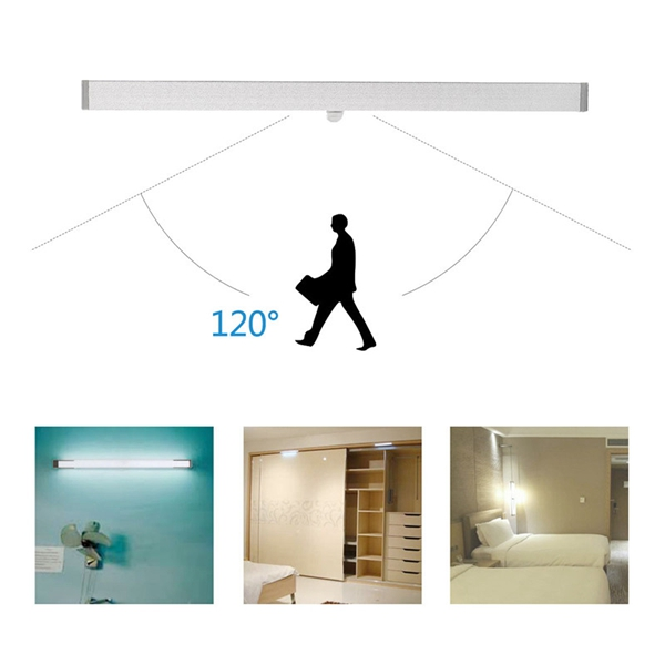 Wireless PIR Motion Sensor USB 18 LED Cabinet Closet Night Light Bar Lamp
