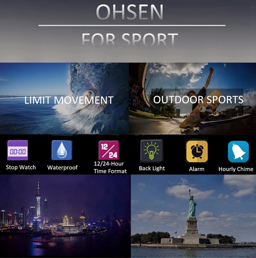 OHSEN 1709 Digital Watches 50M Waterproof Rubber Strap Sport Men LED Watch