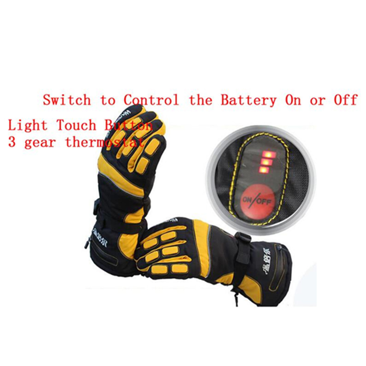 WARMSPACE 2000mAh Yellow/Blue Electric Heated Gloves Hands Motorcycle Warm Smart W/ Rechargeable Battery M/XL