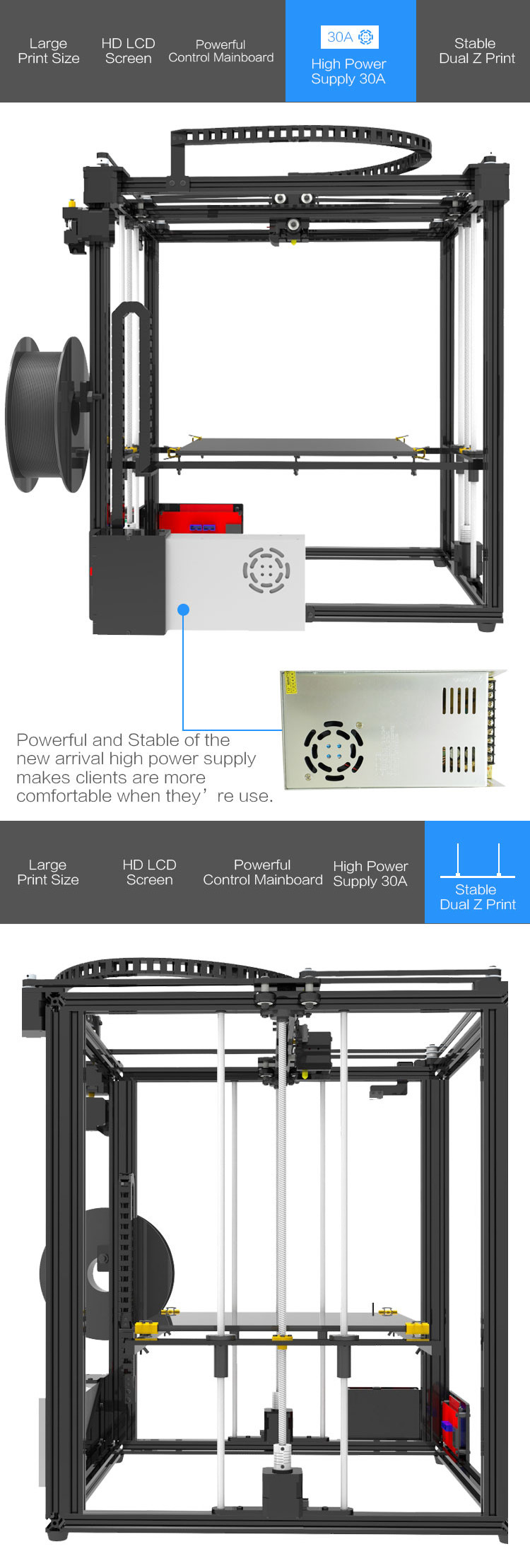 TRONXY® X5S-400 DIY Aluminum 3D Printer Kit 400*400*400mm Large Printing Size With Dual Z-axis Rod/HD LCD Screen/Double Fan 1.75mm 0.4mm Nozzle