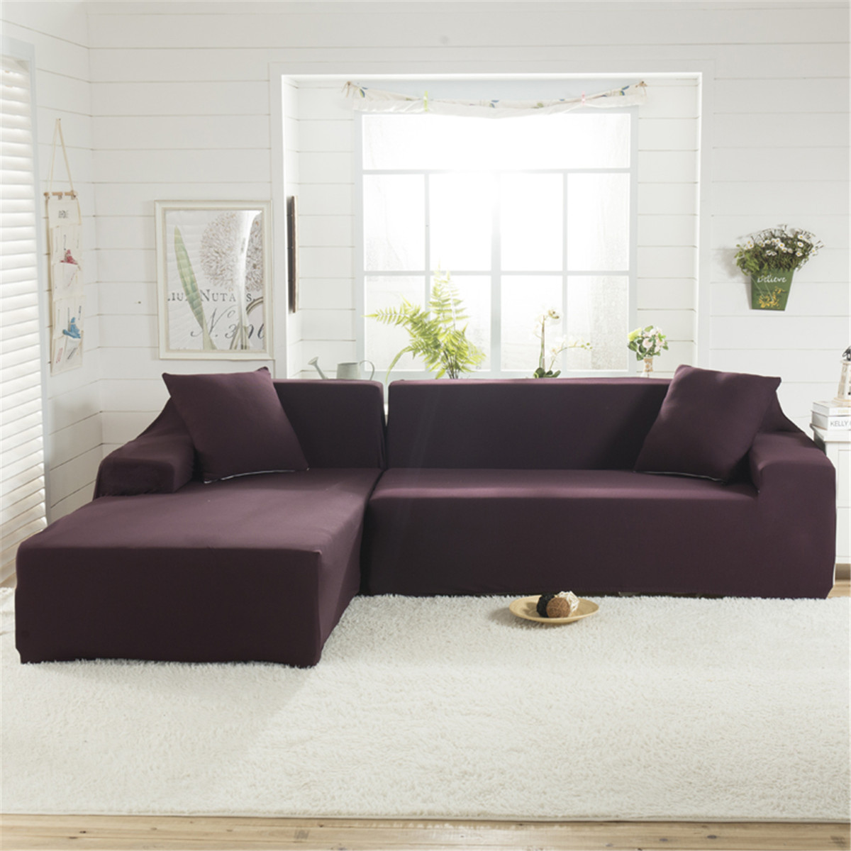 L Shape Couch Cover Stretch Elastic Fabric Sofa Cover Pet Sectional Corner Chair Covers