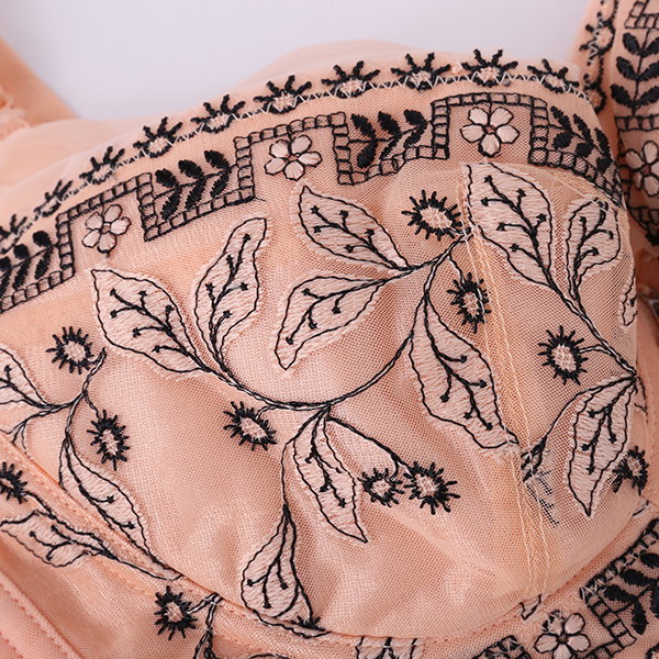 Deep V Wireless Gather Fat Embroidery Bra