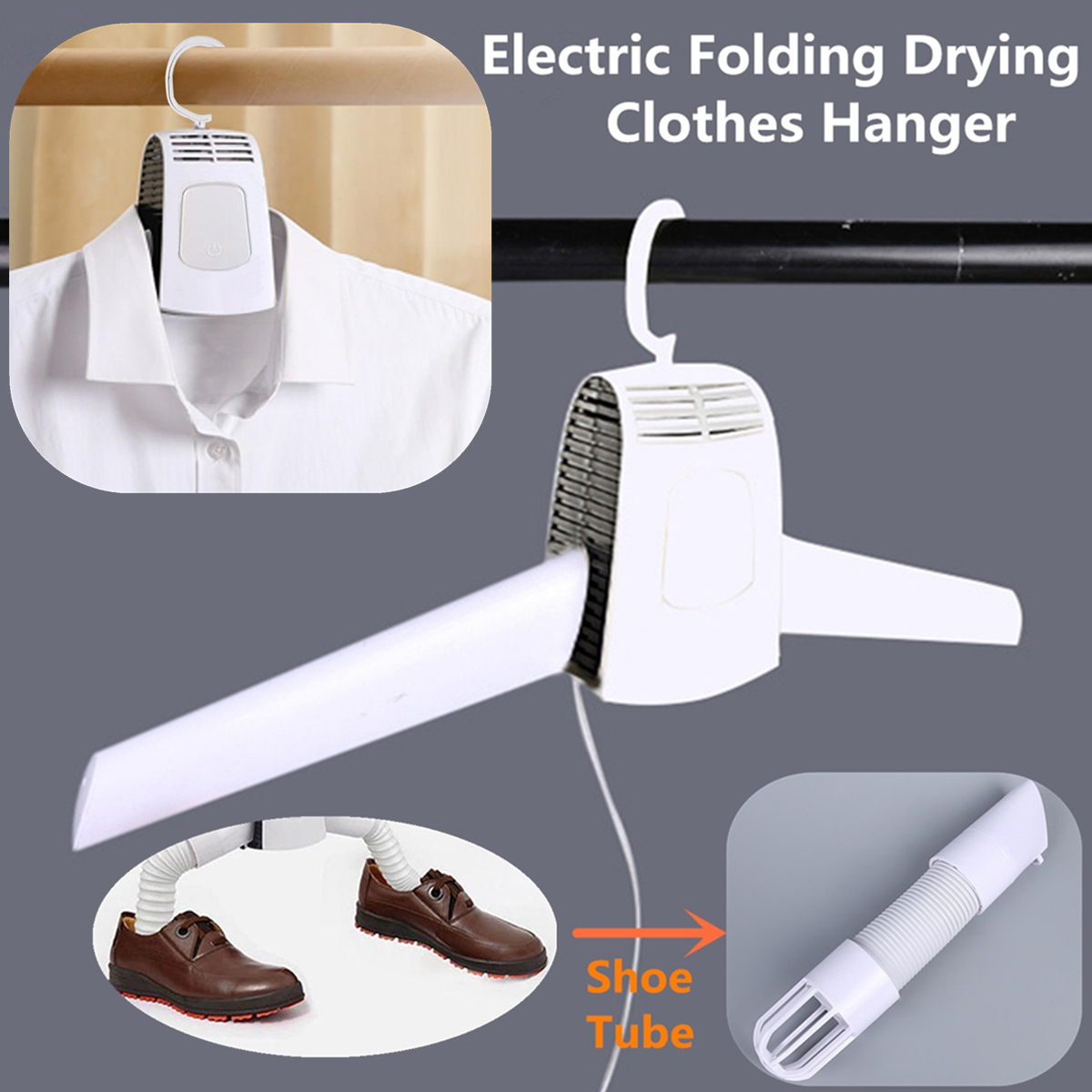 Portable Electric Folding Cloth Hanger Shoes Dryer Travel Laundry Drying Rack